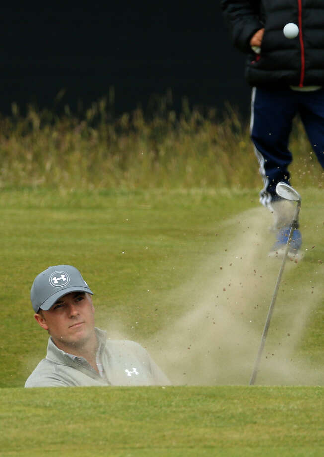 United States' Jordan Spieth plays out of a bunker during a practice round at the British Open Golf Championship at the Old Course, St. Andrews, Scotland, Tuesday, July 14, 2015. (AP Photo/Jon Super) ORG XMIT: GLF178 Photo: Jon Super / AP