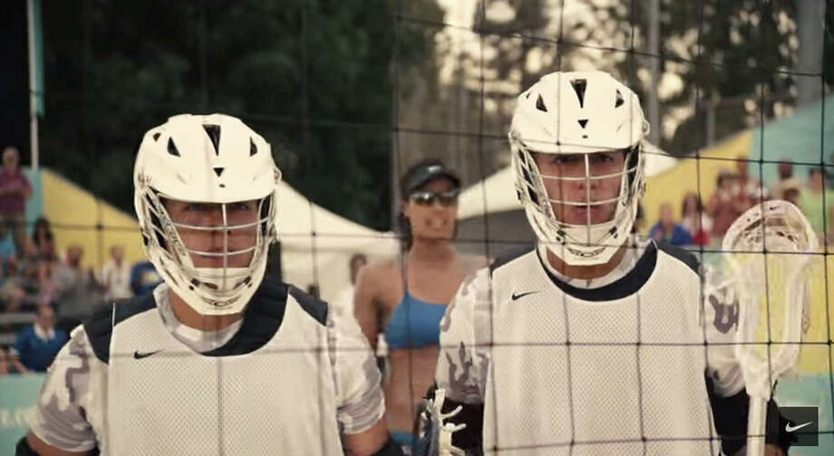 Miles Thompson, left, and Lyle Thompson, former University at Albany lacrosse players, are among current and former athletes featured in a new Nike commercial. ( Nike )
