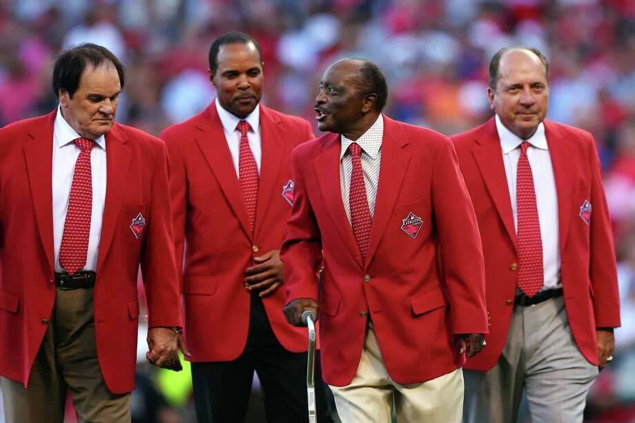 CINCINNATI, OH - JULY 14:  Former Cincinnati Reds player Pete Rose, Barry Larkin, Joe Morgan and Johnny Bench walk on the field prior to the 86th MLB All-Star Game at the Great American Ball Park on July 14, 2015 in Cincinnati, Ohio.  (Photo by Elsa/Getty Images) ORG XMIT: 554358343 Photo: Elsa / 2015 Getty Images