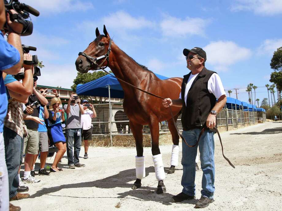 Triple Crown champion American Pharoah is the center of attention for media members as he is held by assistant trainer Jim Barnes in the stables at Del Mar Thoroughbred Club on Tuesday, July 14, 2015, in Del Mar, Calif. American Pharoah arrived at Del Mar to begin training for next month's Haskell Invitational in New Jersey. (AP Photo/Lenny Ignelzi) ORG XMIT: CALI102 Photo: Lenny Ignelzi / AP