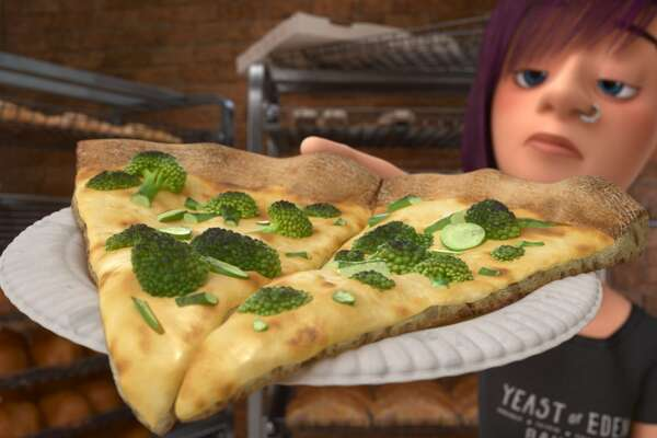 Yeast of Eden:  Riley is horrified when she goes out for pizza in San Francisco and the pizzeria offers only one type of toppings on its pies--broccoli.