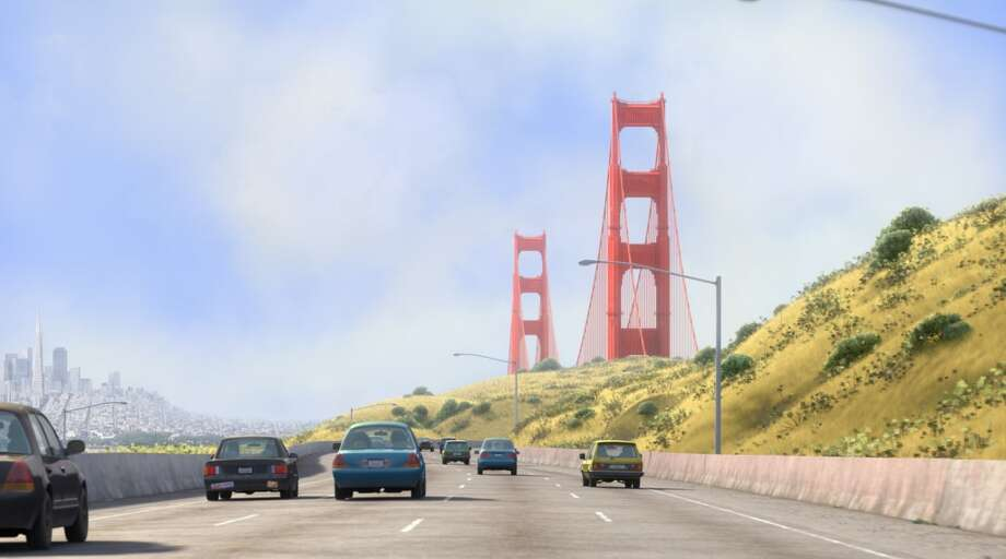 Pixar's Golden Gate Bridge:'Inside Out' tells the story of an 11-year-old girl named Riley whose world is turned upside down when her father moves her family from Minnesota to San Francisco. On the drive to California, the family's sedan crosses the Golden Gate Bridge. Photo: Pixar