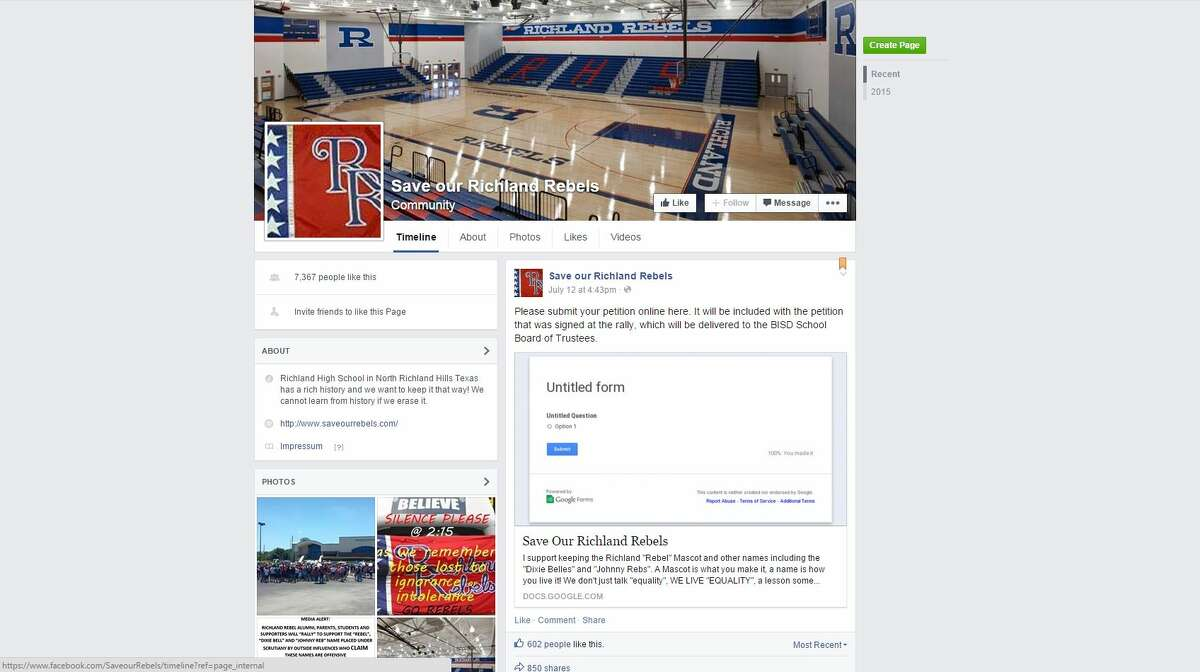 At least 3,600 people have signed an online petition to allow Richland High School in North Richland Hills to keep the names of its mascots - the Rebels, Dixie Belles and Johnny Rebel. A Facebook group called Save our Richland Rebels has more than 7,300 likes.