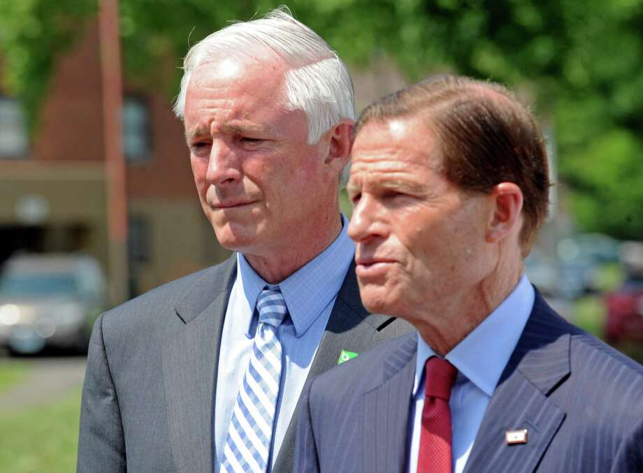 The day after a horrific scene of gunfire at the Trumbull Gardens housing complex, Mayor Bill Finch listens as U.S. Sen. Richard Blumenthal speaks at a press conferenceat Trumbull Gardens in Bridgeport, Conn. on Friday, June 12, 2015. On Wednesday, July 15, 2015, Blumenthal and U.S. Sen. Chris Murphy endorsed Finch's reelection for mayor. Photo: Cathy Zuraw / Hearst Connecticut Media / Connecticut Post