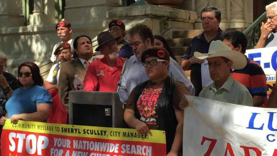 A coalition of Hispanic organizations led a rally July 15, 2015, on the steps of City Hall to urge City Manager Sheryl Sculley to stop a national search for someone to lead the San Antonio Police Department. Photo: Elizabeth Zavala/San Antonio Express-News