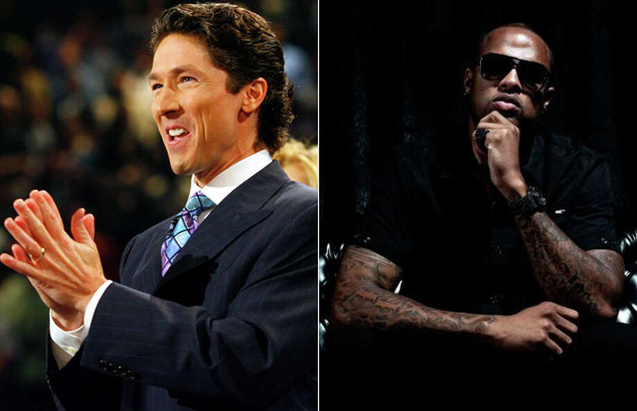 "Unlikely duo? Lakewood CHurch pastor Joel Osteen (left) and Houston rapper Slim Thug (right) appear together on Slim's newest album ""Hogg Life, Vol. 2: Still Surviving,"" which was just released this week in stores.See more famous folks who follow Joel Osteen on Twitter, in church or elsewhere ... Photo: Composite Image: Joel Osteen Photo By Houston Chronicle,  Slim Thug Photo By Brandon Holley And Mike Frost For SLFEMP"