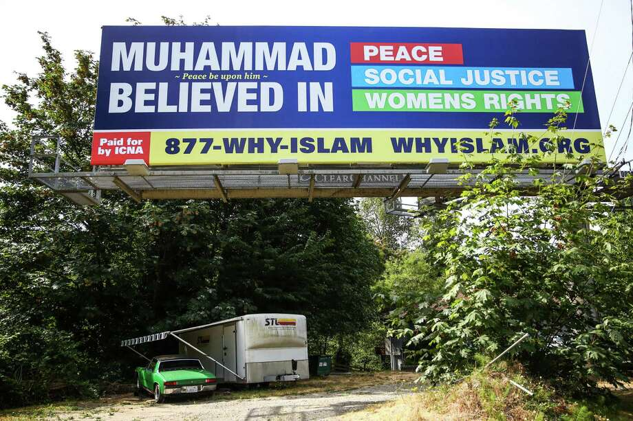 A billboard paid for by the Islamic Circle of North America is shown on Lake City Way in Seattle. The campaign from the organization is hoping to dispel myths about muslim Americans and to raise awareness about the Prophet Muhammad. Photographed on Wednesday, July 15, 2015. Photo: JOSHUA TRUJILLO, SEATTLEPI.COM / SEATTLEPI.COM