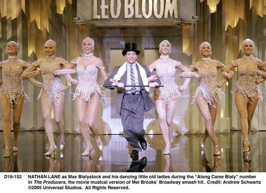 """MATTHEW BRODERICK as Leo Bloom and his dancing """"Girls With Pearls"""" during the """"I Wanna Be A Producer"""" number in The Producers, the movie musical version of Mel Brooks'  Broadway smash hit, The Producers.    Credit: Andrew Schwartz.  Â2005 Universal Studios.  All Rights Reserved. Photo: Andrew Schwartz / handout CD"""