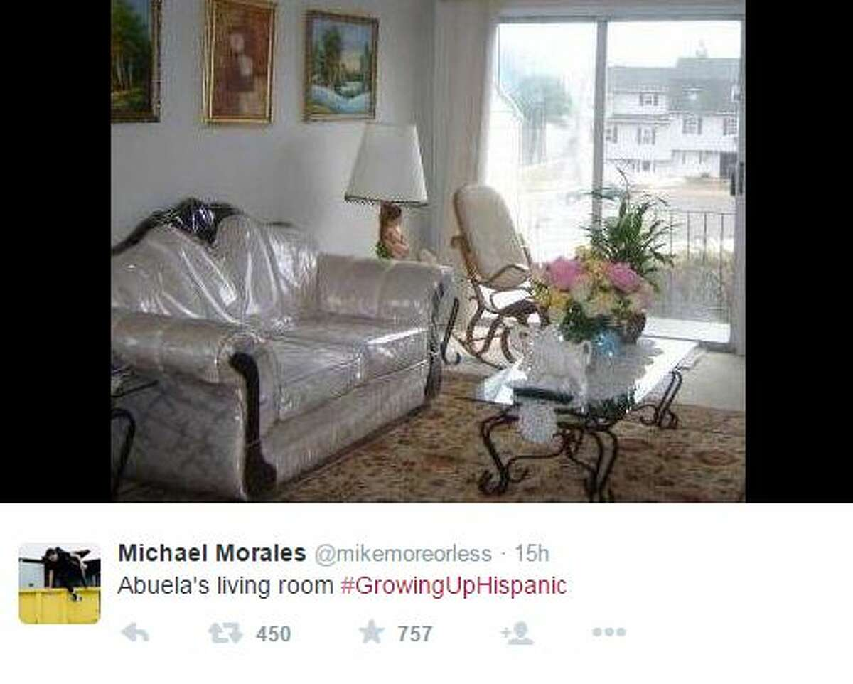 """Abuela's living room #GrowingUpHispanic,"" @mikemoreorless"