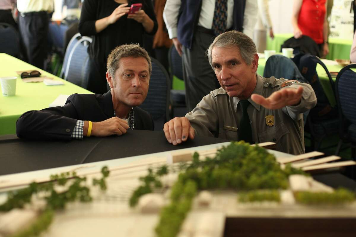 Evan Rose, left, in 2014 with Frank Dean, then superintendent of the Golden Gate National Recreation Area. Rose was an urban designer for one of the teams competing to design the new parkland atop the former Doyle Drive in the Presidio. Mr. Rose died on July 13, 2015.