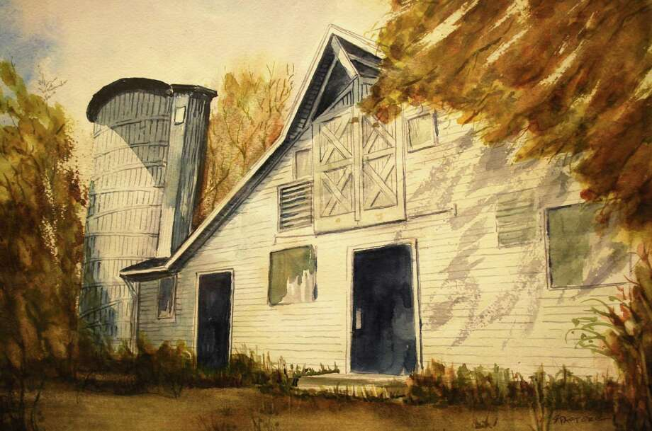 Stan Pastoreís watercolors of the historic barns at Sterling Farms in Stamford. Pastore painted the series over the course of a year from his own photographs and newspaper articles. The barn paintings are part of Pastoreís exhibit at the Darien Town Hall and are available for sale. Photo: Contributed / Contributed Photo / Darien News