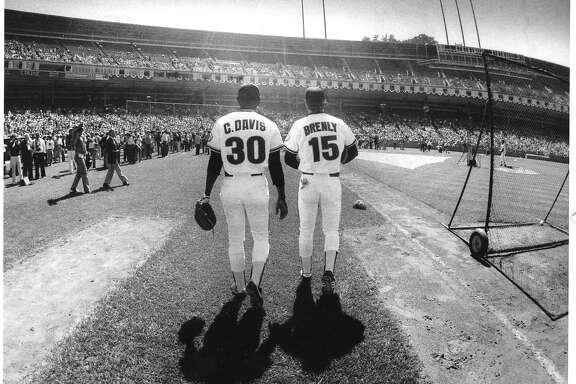 Giants Bob Brenly and Chili Davis at the 1984 All-Star Game held at Candlestick Park