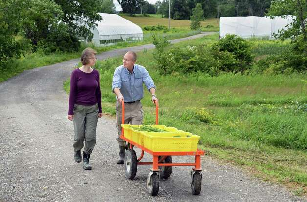 Mary and Gordon Sacks at their 9 Miles East Farm Wednesday July 8, 2015 in Schuylerville, NY.  (John Carl D'Annibale / Times Union) Photo: John Carl D'Annibale / 00032515A