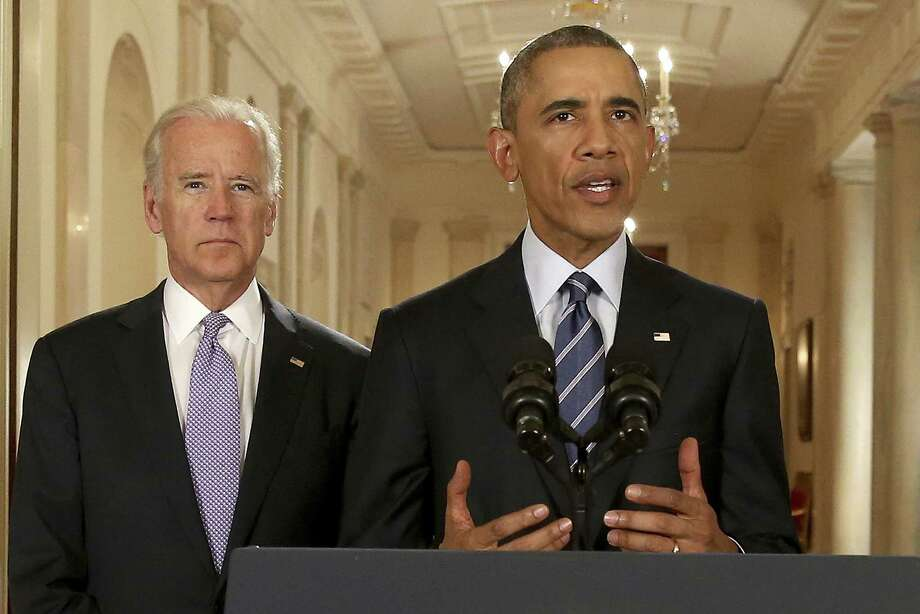 President Barack Obama, standing with Vice President Joe Biden, conducts a press conference in response to the Iran Nuclear Deal, on Tuesday. Is his high-stakes gamble a resonable risk or a dangerous miscalculation? Photo: Pool /Getty Images / 2015 Getty Images