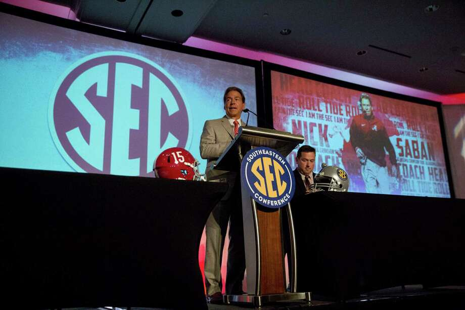 Alabama coach Nick Saban speaks to the media at the Southeastern Conference NCAA college football media days, Wednesday, July 15, 2015, in Hoover, Ala. (AP Photo/Brynn Anderson) Photo: Brynn Anderson, STF / Associated Press / AP