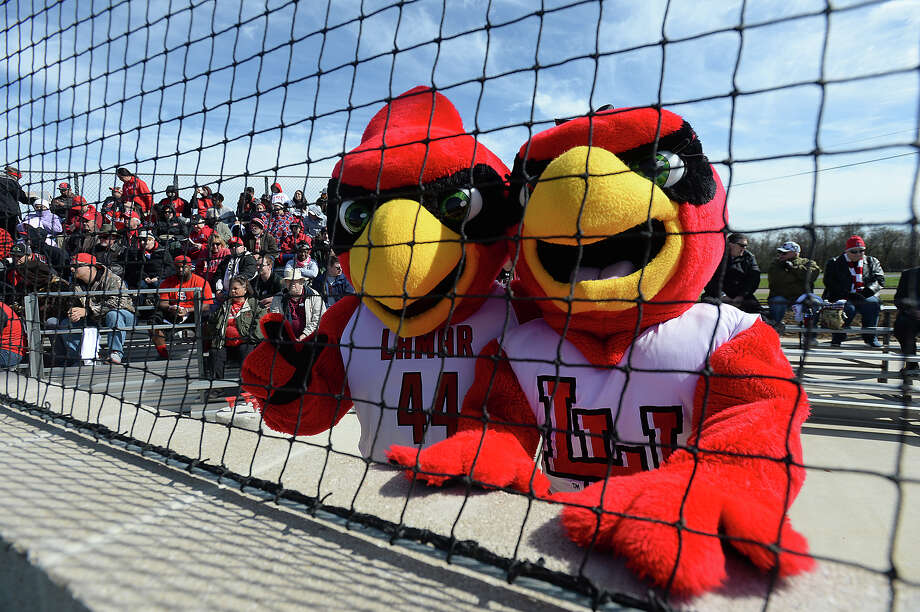 Lamar icons Big Red and Lu helped celebrate on the grand opening of their new home field Friday. Lamar faced Houston Baptist on their new home turf for the first of a double-header.  Photo taken Thursday, March 5, 2015  Kim Brent/The Enterprise Photo: Kim Brent / Beaumont Enterprise