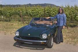 Photos of Kacey Ragland and her 1976 Fiat 124 Spider photographed on Dry Creek Road, Healdsburg, CA