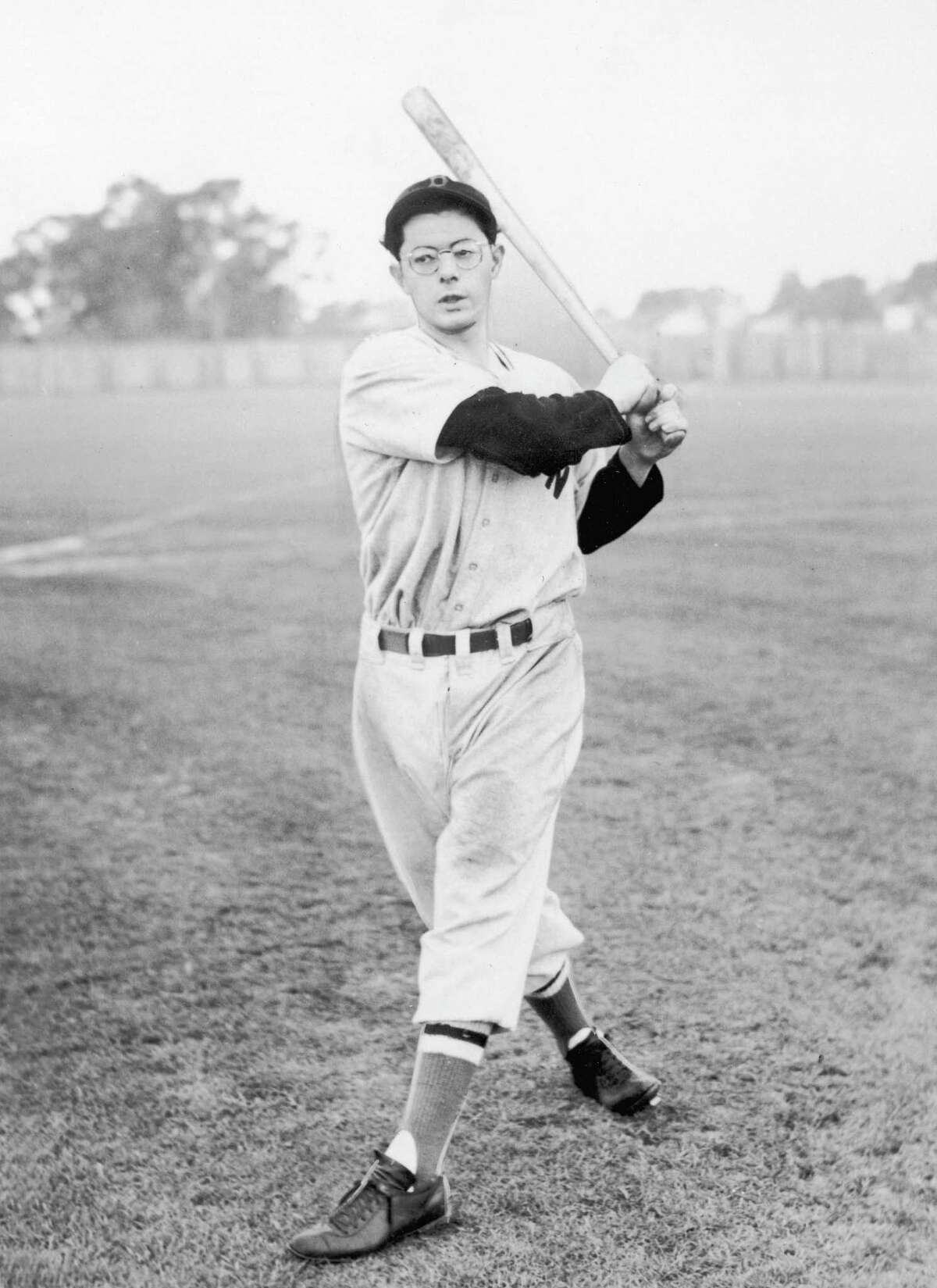 SARASOTA, FL - 1940: (FILE PHOTO) American baseball player Dominic DiMaggio, brother of Joe DiMaggio, practices batting in his uniform during Spring training with the Boston Red Sox in 1940 in Sarasota, Florida. DiMaggio, 92, died May 8, 2009 in his home in Massachusetts. (Photo by APA/Getty Images)