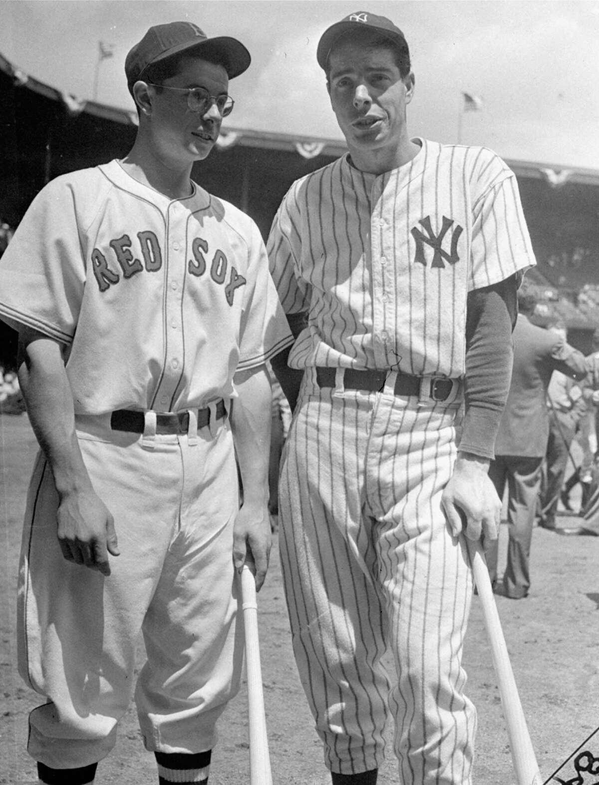 At left, Dominic (left) and Joe DiMaggio were both American League All-Stars in 1941, the season of Joe's major-league-record 56-game hitting streak.