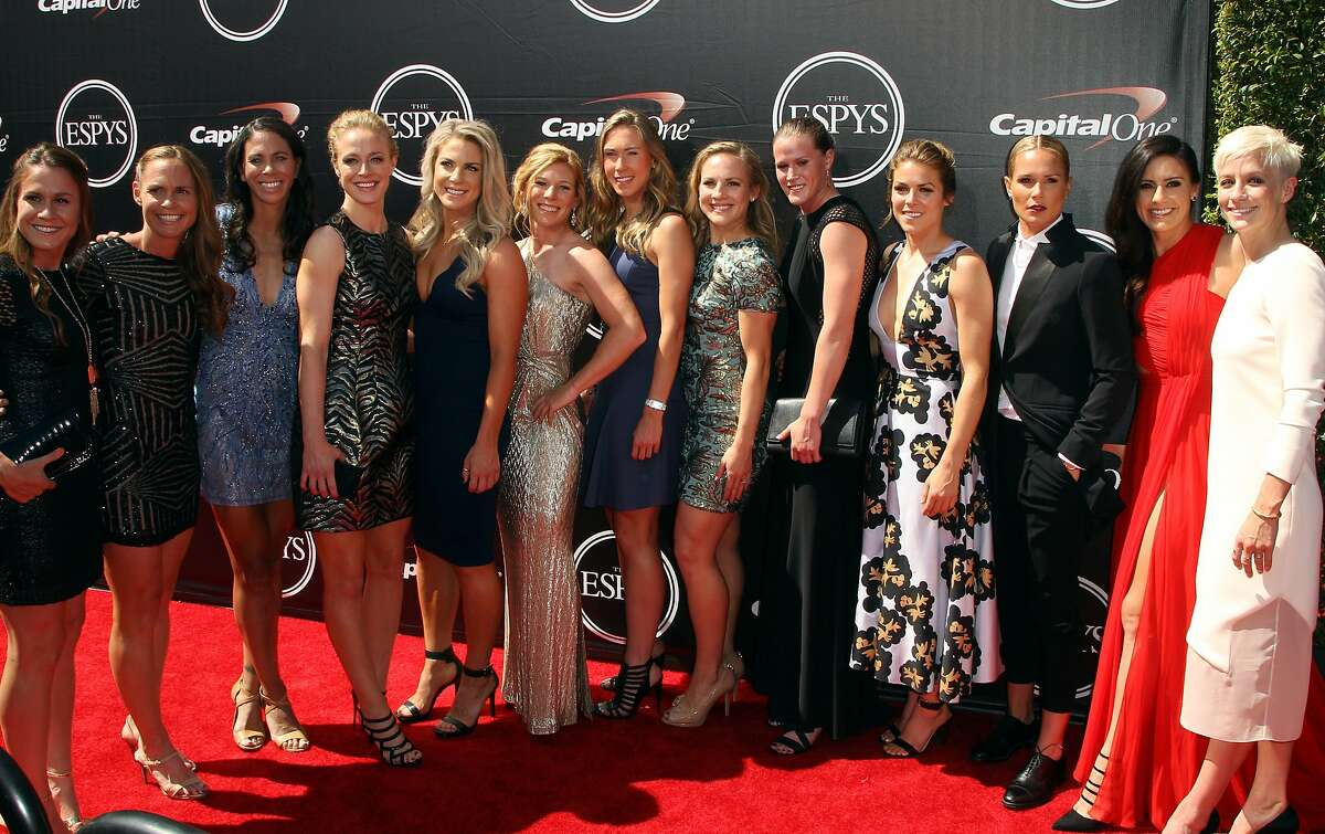 The U.S. women's national soccer team arrives at the ESPY Awards at the Microsoft Theater on Wednesday, July 15, 2015, in Los Angeles.