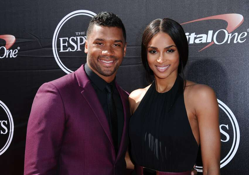 NFL player Russell Wilson, left, of the Seattle Seahawks, and musician Ciara arrive at the ESPY Awards at the Microsoft Theater on Wednesday, July 15, 2015, in Los Angeles. (Photo by Richard Shotwell/Invision/AP)