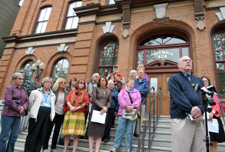 Saratoga Springs Public Safety Commissioner Chris Mathiesen speaks during a press conference about the call for an investigation into sexual harassment findings against Michael Prezioso Tuesday, June 2, 2015, at Saratoga City Hall in Saratoga Springs, N.Y. (Phoebe Sheehan/Special to the Times Union) Photo: PS / 00032115A