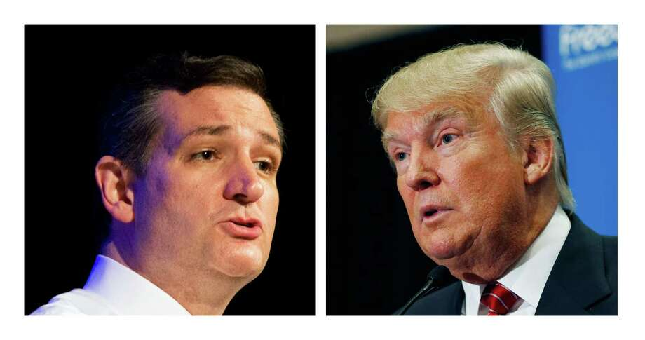 """FILE - This two picture combo of file photos shows Republican presidential candidate, Sen. Ted Cruz, R-Texas, left, and Donald Trump. Two of the most outspoken Republican presidential candidates on illegal immigration, Cruz and Trump, are set to talk. Cruz, who requested the Wednesday meeting, told reporters at the Capitol that Trump """"is bringing a bold, brash voice to this presidential race.""""   (AP Photo/File) Photo: STF / AP"""