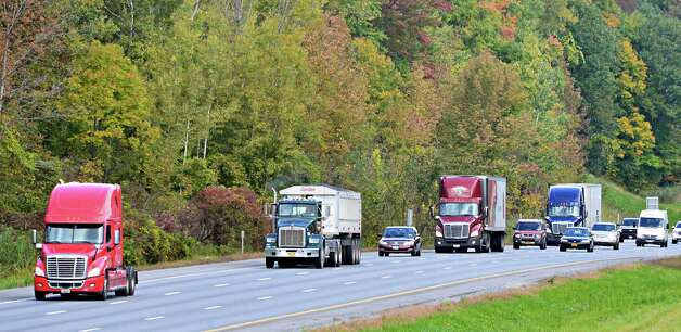 Southbound truck traffic on I-87 Thursday Sept. 26, 2013, in Clifton Park, NY.  (John Carl D'Annibale / Times Union) Photo: John Carl D'Annibale