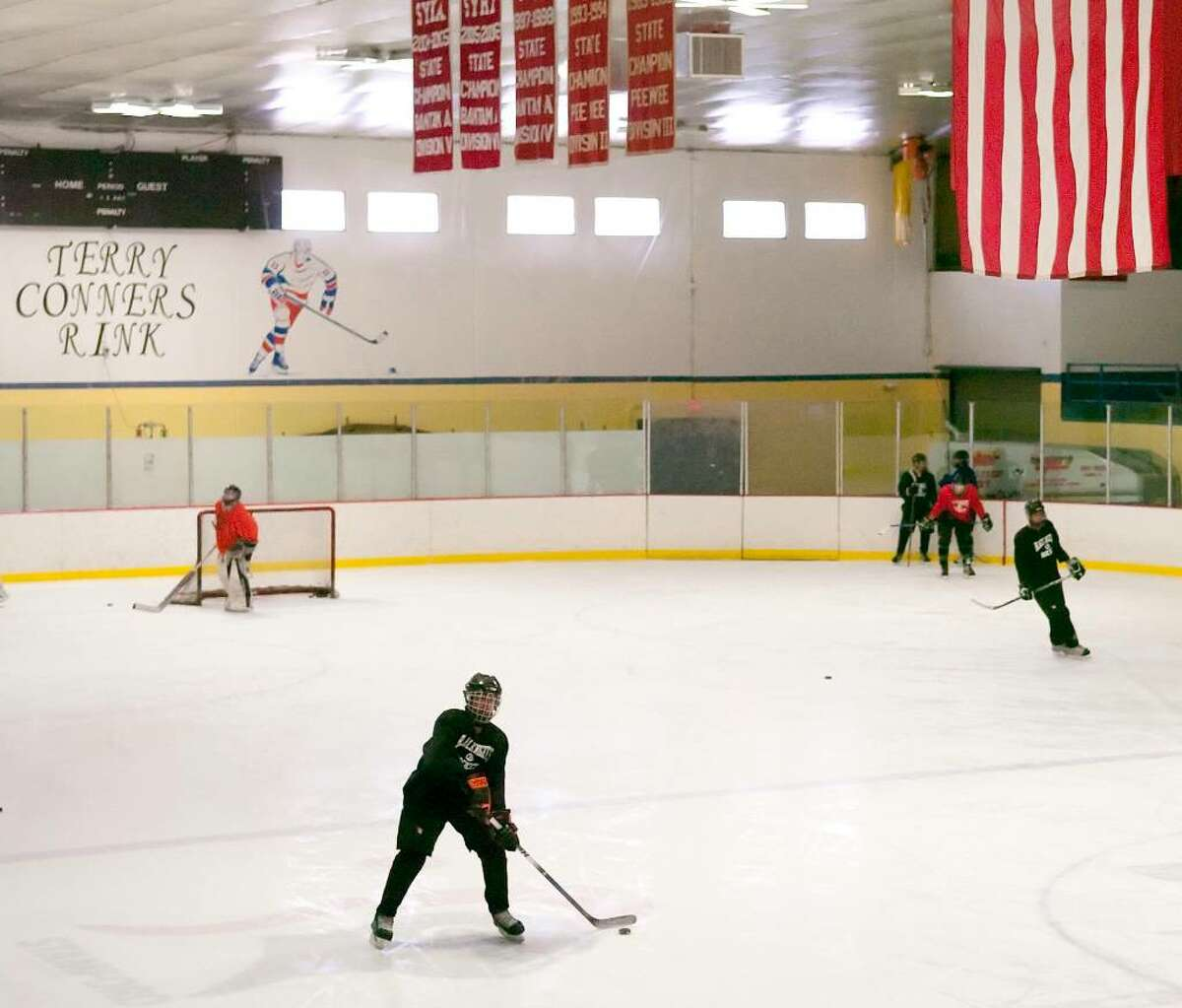 File photo, The Stamford High School hockey team practices at Terry Conners Rink in Stamford, Conn. on Tuesday, Feb. 9, 2010.