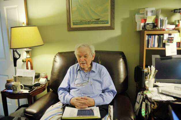 Veteran Richard Johnson, 94, talks about working on one of the atomic bombs at Los Alamos during World War II on Monday, July 13, 2015, during an interview at his home in Brunswick, N.Y.  (Paul Buckowski / Times Union) Photo: PAUL BUCKOWSKI / 00032566A