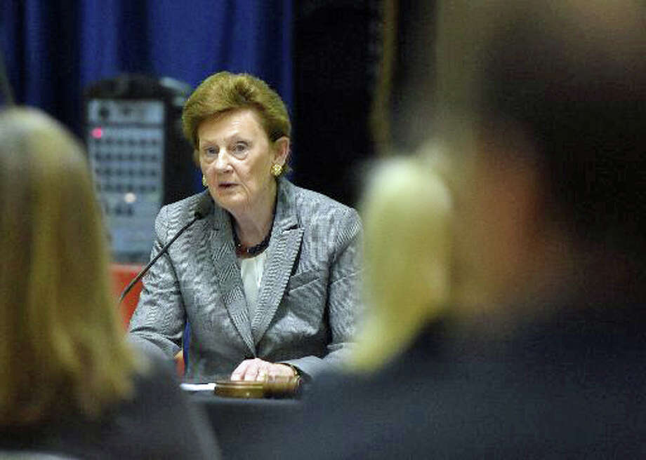 Board of Education Chairman Barbara O'Neill speaks at the Board of Education forum at New Lebanon School in Greenwich, Conn. Monday, Nov. 10, 2014. Photo: File Photo / File Photo / Greenwich Time File Photo