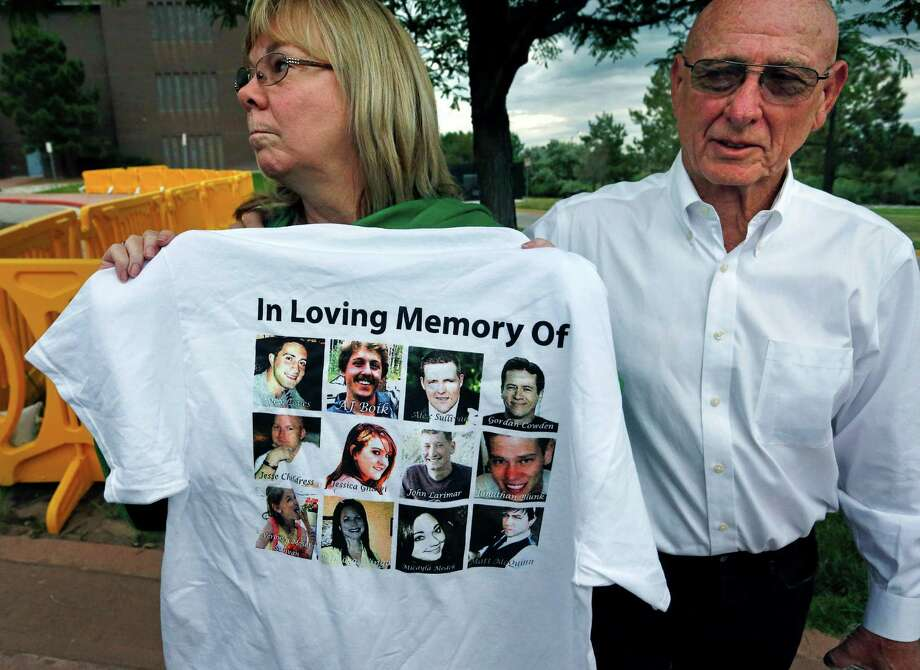 Lonnie and Sandy Phillips, whose daughter Jessica Ghawi was killed in the 2012 Aurora, Colo., movie theater massacre, talk with the media on Tuesday. Photo: Brennan Linsley /Associated Press / AP