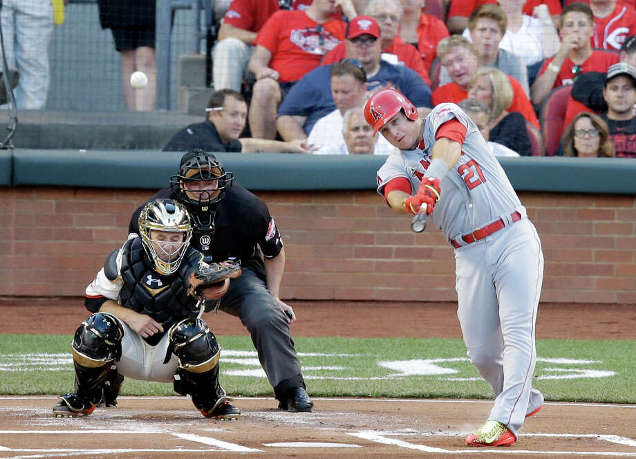 American League's Mike Trout, of the Los Angeles Angels, hits a home run during the first inning of the MLB All-Star baseball game, Tuesday, July 14, 2015, in Cincinnati. (AP Photo/Michael E. Keating ) ORG XMIT: OHDC164 Photo: Michael E. Keating / FR170759 AP