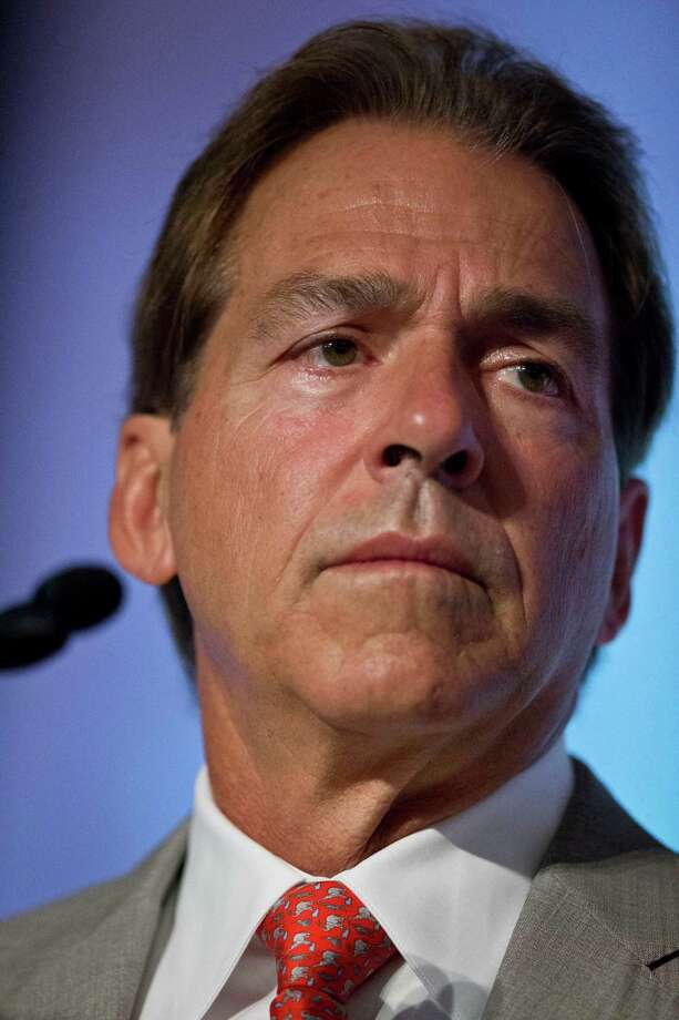 Alabama coach Nick Saban speaks to the media at the Southeastern Conference NCAA college football media days, Wednesday, July 15, 2015, in Hoover, Ala. (AP Photo/Brynn Anderson) ORG XMIT: ALBA122 Photo: Brynn Anderson / AP