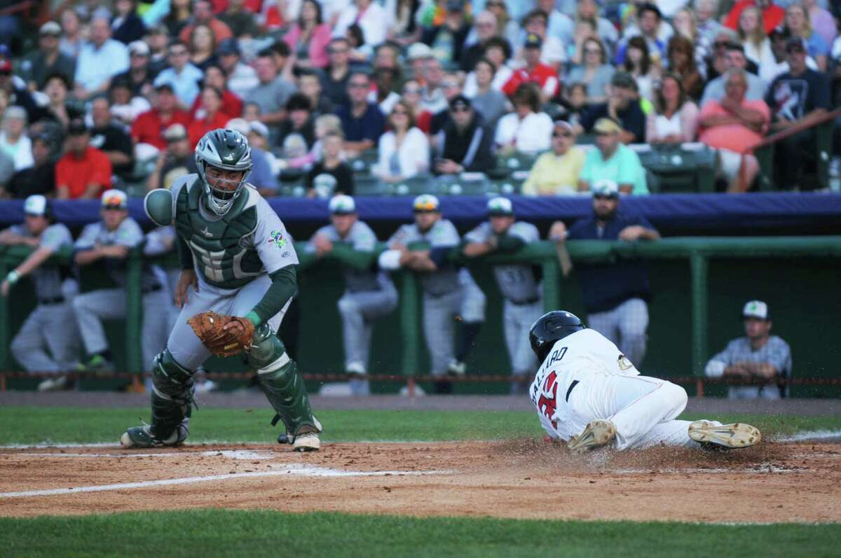 Keach Ballard scores a run during the bottom of the second inning of the Tri-City ValleyCats game against the Vermont Lake Monsters on Wednesday, July 15, 2015, at Joe Bruno Stadium in Troy, N.Y. (Olivia Nadel/ Special to the Times Union)