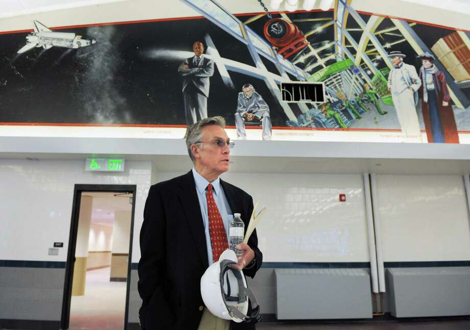 Joseph Tripodi, in April, 2014, giving a tour of the newly reopened Wright Tech. Tripodi announced this week his intention to resign after one year at the school. Photo: Dru Nadler / Dru Nadler / Stamford Advocate Freelance