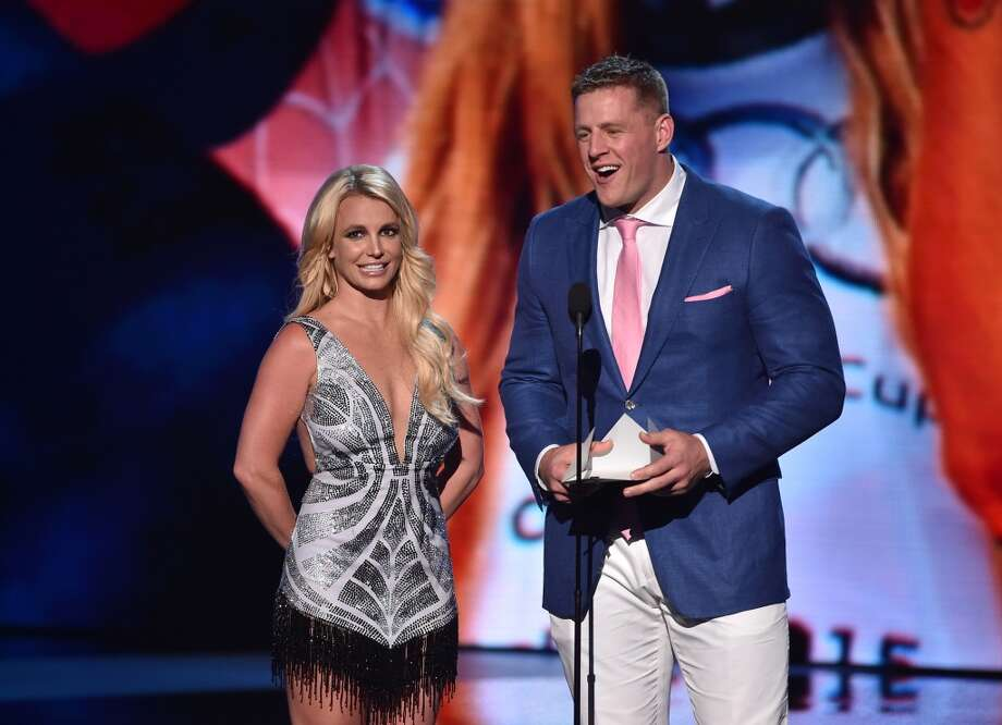J.J. Watt with Britney Spears at the 2015 ESPYs. Photo: Getty Images