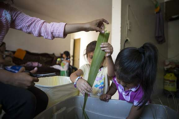 From left: Mariel Ortiz, 10, teaches family friend Danna Sanchez, 4, and cousin Yuritzy Ortiz, 4, to prepare leaves for wrapping tamales at the Prentice Apartments in Healdsburg, California, on Tuesday, July 14, 2015. 11 members of the Ortiz family live in an apartment there together. They will be forced to move before July 31st, when rent substantially increases. Healdsburg is becoming unaffordable for many longtime residents as prices increase.