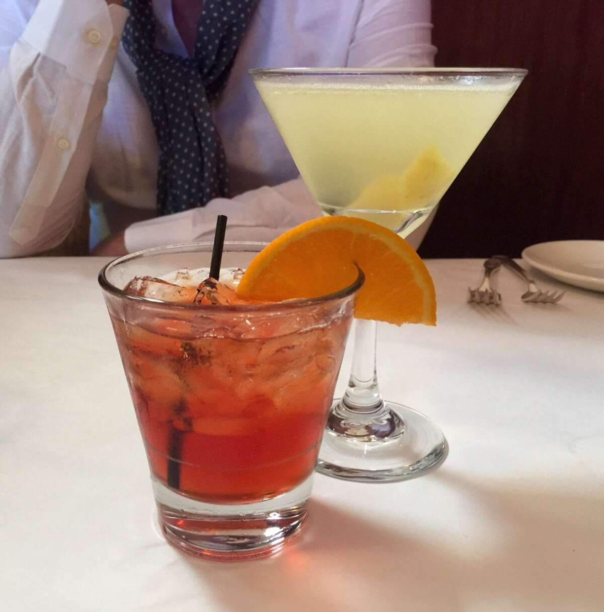Cocktails, which are at the heart of the experience at the Elite Cafe, include the Boulevardier ($11) and the Corpse Reviver 2 ($12).