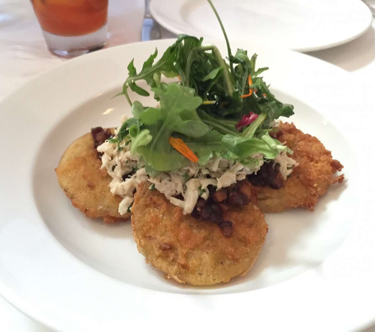 Fried green tomatoes with blue crab ($15).