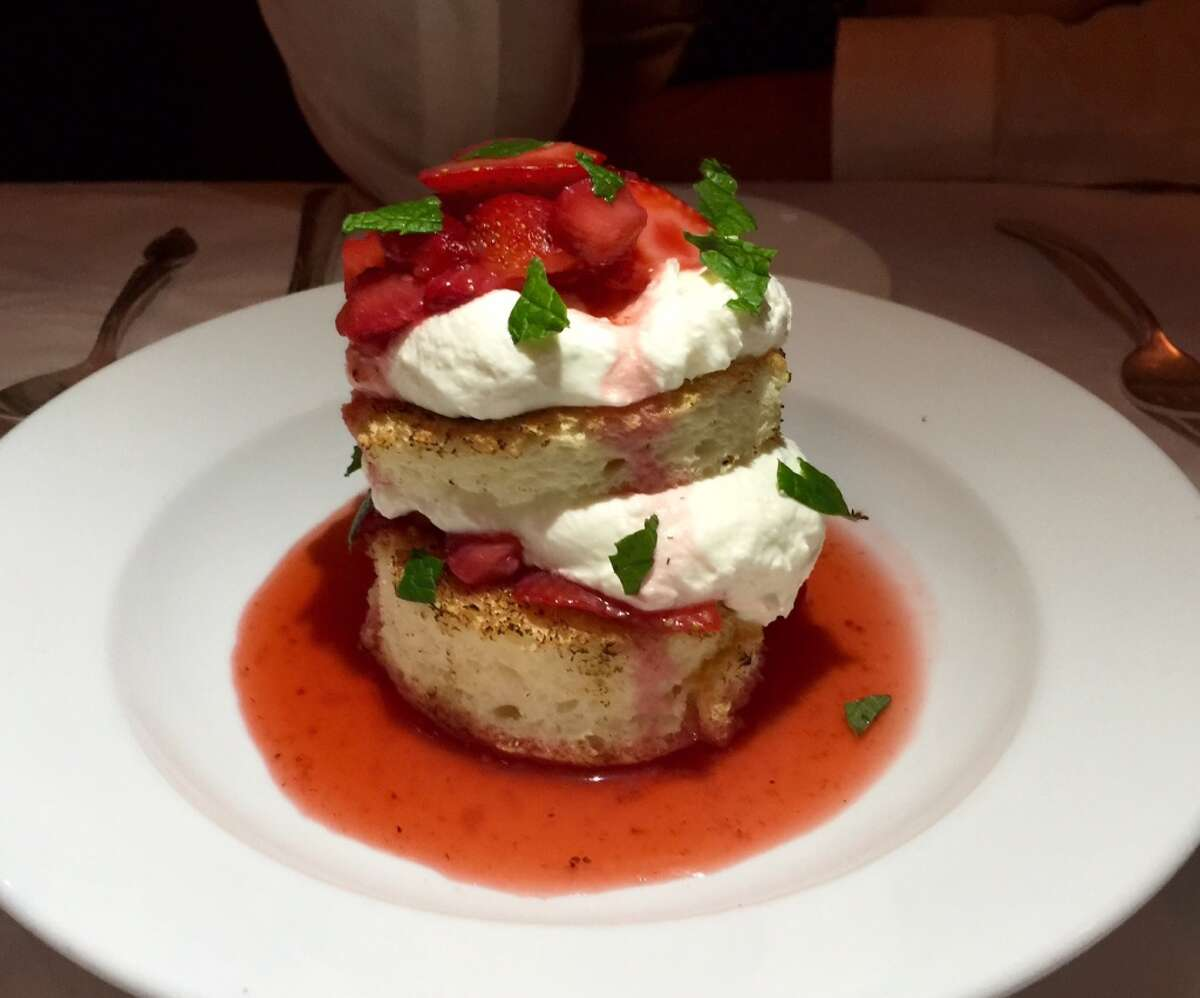 Grilled angel food cake with strawberries ($8.50).