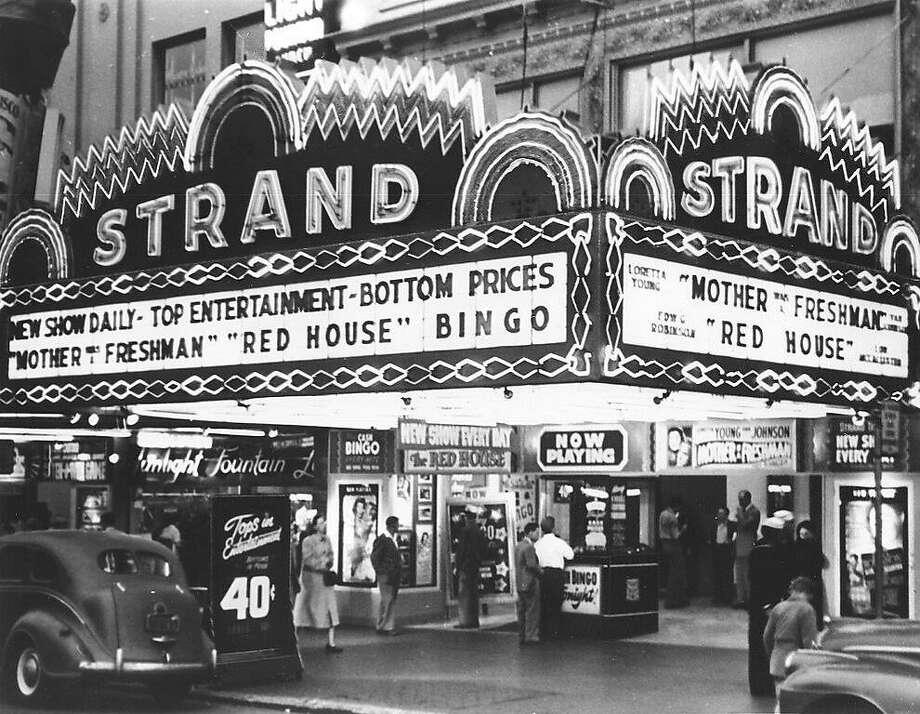 Left: The Strand Theater in 1950, the heyday of Mid-Market. Photo: Courtesy J.E. Tillmany
