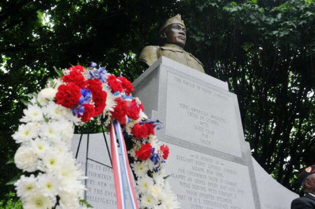 A view of the Henry Johnson memorial in Washington Park on Sunday, May 31, 2015, in Albany, N.Y. On Tuesday President Barack Obama will award the Medal of Honor to Johnson for his heroism in World War I in France. (Paul Buckowski / Times Union)