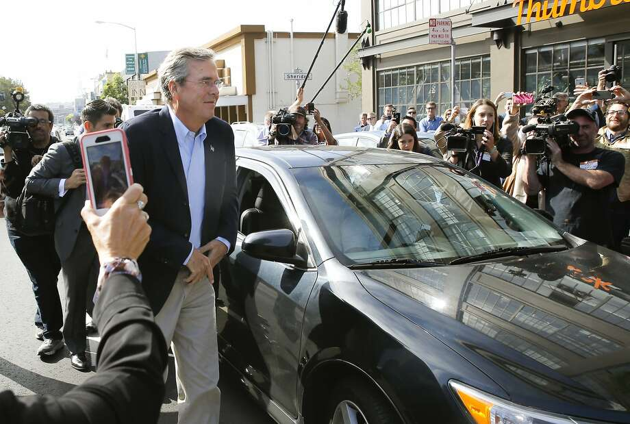 GOP presidential candidate Jeb Bush arrives at Thumbtack via a Uber car in San Francisco, Calif., on Thurs. July 16, 2015. Photo: Michael Macor, The Chronicle