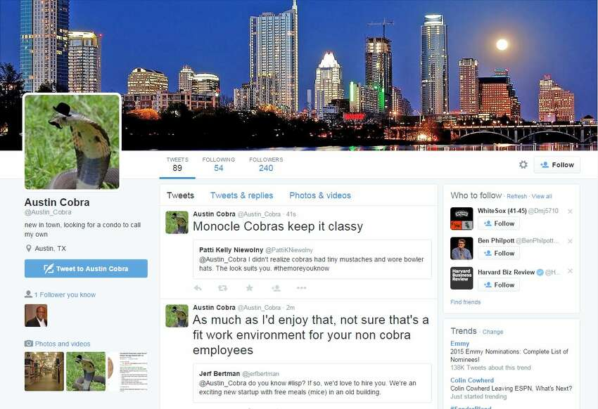 Shortly after Austin Police announced their search for the monocled cobra they believe killed an 18-year-old temple man, Twitter users took to the social media site to voice their fears. One user created a parody Twitter page for the missing snake.