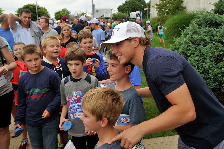 Greenwich native and Columbus Blue Jackets forward Cam Atkinson takes photos with fans before the seventh annual Big Assist benefiting the Obie Harrington-Howes Foundation at Terry Conners Rink in Stamford, Conn., on Wednesday, July 15, 2015. Photo: Jason Rearick / Hearst Connecticut Media / Stamford Advocate