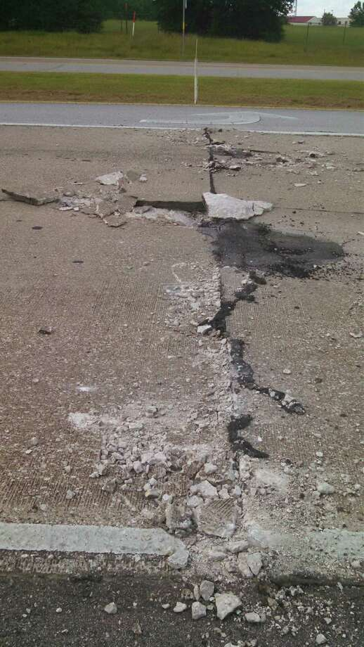 Highway 327 in Silsbee buckled Thursday, possibly because of heat, according to state officials who hope to reopen both eastbound lanes by 7 p.m. Photo: City Of Silsbee