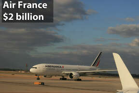 An Air France Boeing 777 taxis into position for takeoff at Bush Intercontinental Airport. February 2015.