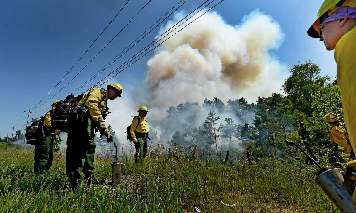 New York State Forest Rangers manage a controlled burn in the Pine Bush Preserve Thursday afternoon, July 16, 2015, in Albany, N.Y. The fires are set to burn off old vegetation making way for new plants favored by species, such as Karner Blue butterfly. (Skip Dickstein/Times Union)