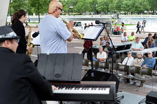 The band Boptitude performs during a Made in the Shade of the Egg music series on the Empire State Plaza Wednesday July 15, 2015 in Albany, NY.  (John Carl D'Annibale / Times Union) Photo: John Carl D'Annibale, Albany Times Union
